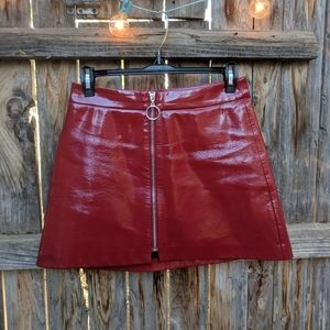 Red Patent Faux Leather Mini Skirt Front Zip